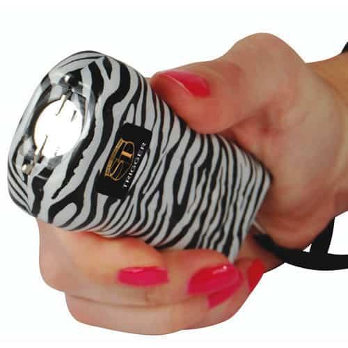Trigger Stun Gun Flashlight with Disable Pin Zebra