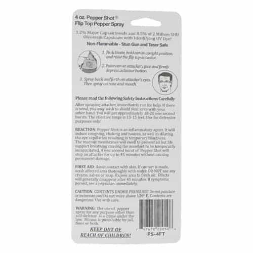 Pepper Shot 1.2% MC 4 oz Pepper Spray Flip Top Package Back