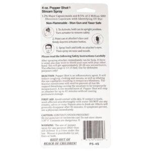 Pepper Shot 1.2% MC 4 oz Pepper Spray Stream Package Back